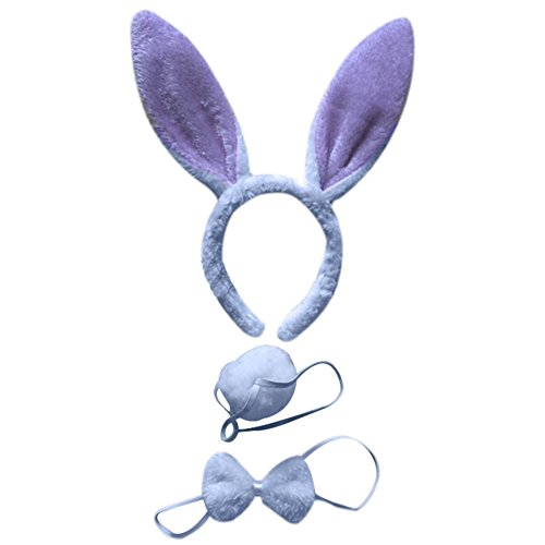 Mwfus 3pcs Long Rabbit Ears Halloween Costume Bunny Headband Bowtie Tail Accessories -