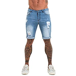 GINGTTO Mens Short Jeans Pants Slim Fit Distressed Denim Shorts for Men Ripped Blue 34
