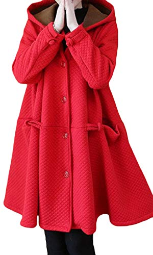 Joe Wenko Women's Stylish Swing Hooded Single Breasted Thicken Coat Red X-Large