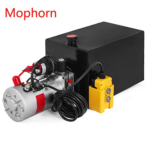 Mophorn Double Acting/Single Acting Hydraulic Pump Dump Trailer Steel/Plastic Hydraulic Power Unit (Steel, 15 Quart/Single Acting)