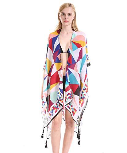 f8321338fd5d9 Women s Stylish Print Kimono Cardigan Beach Swimsuit Coverup ...
