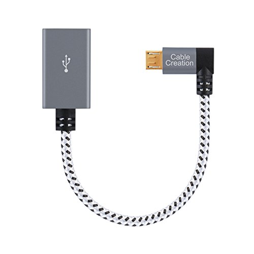 CableCreation 90 Degree Micro USB 2.0 OTG Cable Left Angle Braided On The Go Adapter Micro USB Male to USB Female for Samsung or other Smart Phones with OTG Function, 6 Inch/Space Gray Aluminum