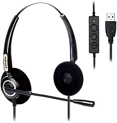 VoiceJoy Corded USB Headset with Noise Cancelling Mic and in