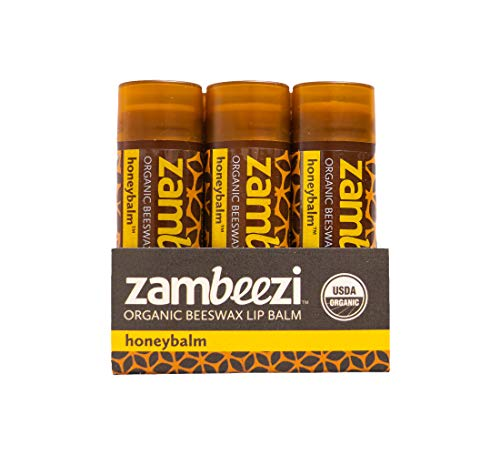 ZAMBEEZI Organic Beeswax Lip Balm - Honeybalm 3 Pack - Crafted with USDA Organic, Fair Trade, Non-GMO, Reef Safe Ingredients - Best for Women, Men and Kids (A Kind Of Flower That Begins With D)