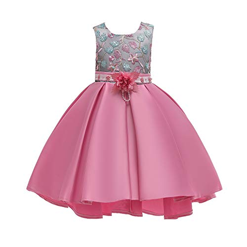 AIMJCHLD A Line Sleeveless Round Neck Flower Girl Dresses Summer Wedding Party Dress Pageant Prom Gowns Christmas Easter Halloween Birthday Holiday Dresses Size 5T 6T (Pink 130) -