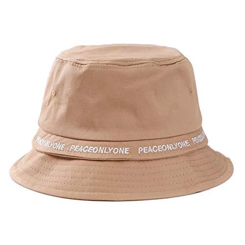TOTOD Fashion Sunshade Hat Basin Cap for Women,Retro Fisherman Hat PEACEONLYONE Print Visor Collapsible Khaki ()