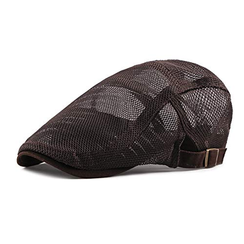 Nanxson Men Women's Breathable Mesh Summer Hat Newsboy Beret Cabbie Gatsby Flat Cap MZM0096 (L, Brown)