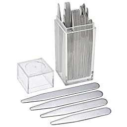PiercingJ 40 Metal Collar Stays in a Clear Plastic Box - 4 Sizes (2.2 - 3 Inches)