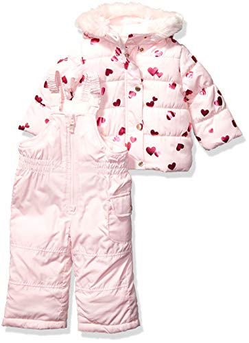 Carter's Baby Girls Heavyweight Jacket and Pants Snowsuit, Hearts on Pink Blush, 24 Months