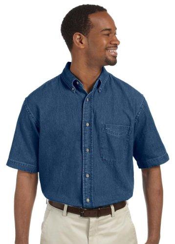 (Harriton Men's 6.5 oz. Short-Sleeve Denim Shirt XL Dark Denim)