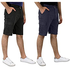 Real Essentials 2 & 4 Pack: Men's Premium Lightweight Belted Cargo Shorts with Multi-Pockets - Classic Fit