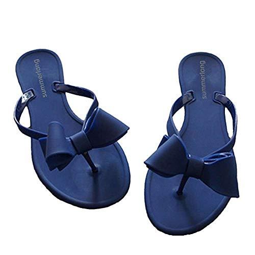 Mtzyoa Women Stud Bow Flip-Flops Sandals Beach Flat Rivets Rain Jelly Shoes Blue -