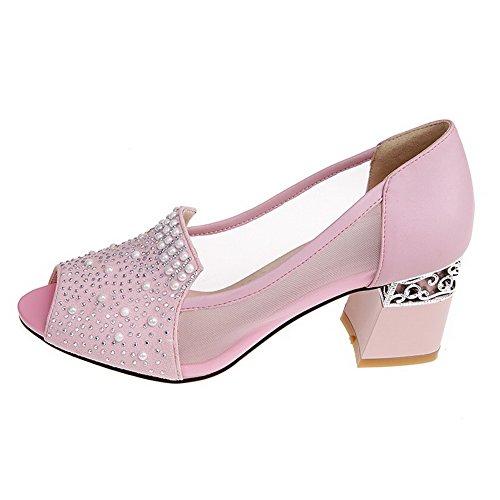 Allhqfashion Kvinners Peep Toe Ku Skinn Kattunge Hæler Solide Sandaler Med  Chunky Hæler Pink