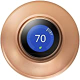 POPMAS Copper Wall Plate for Nest Learning Thermostat 3rd 2nd 1st Generation and Nest Thermostat E Stereoscopic Aluminum Round Cover Fingerprint Resistant Bracket Mount