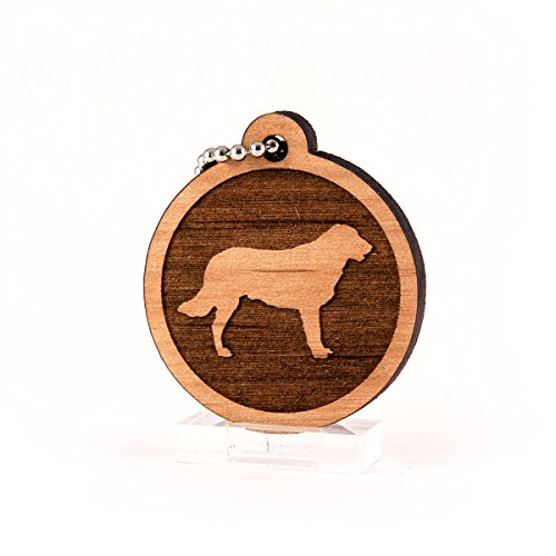 (Sunset Design Lab Flat Coated Retriever for AKC Dog Pet American Kennel Club Wood Laser Cut Keychain Charm Ornament)