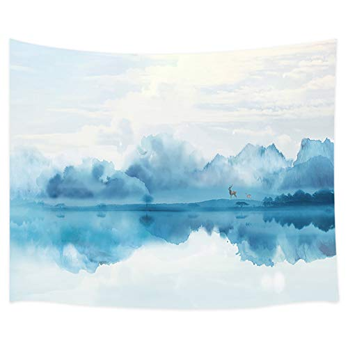 Wonderland Tapestry Wall Hanging, Deer Stand Cloudy and Foggy Mountain Forest View Asian Ink Painting Wall Tapestry, Tapestry Home Decor for Bedroom Living Room Dorm TV Background Blankets, 71X60 in