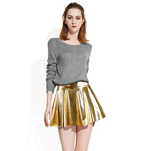 AbbyLexi Women's Shiny Retro Mini Skirt Metallic Faux Leather Skirts, Golden (Pleated Leather Metallic)