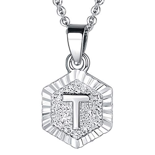 Little Girl Charm Pendant - U7 Tiny Hexagon Initials Necklace for Women Girls Platinum Plated 26 Initials Jewelry A to Z Capital Letter Charm Embossed Grain Monogram Pendant with 18-20 Inch Rolo Chain, Alphabet T
