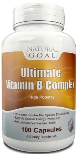 Ultime vitamine B Complex (Haute Activité) - 100 Capsules - système nerveux sain, Cell production - stimule le métabolisme, de l'humeur et de l'énergie - Mieux foie, cheveux, peau et des ongles - Contient B1, B2, B3, B6, B12 et Plus