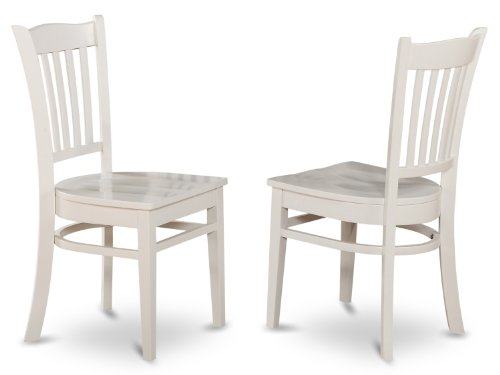 (East West Furniture GRC-WHI-W Dining Chair Set with Wood Seat, White Finish, Set of 2)