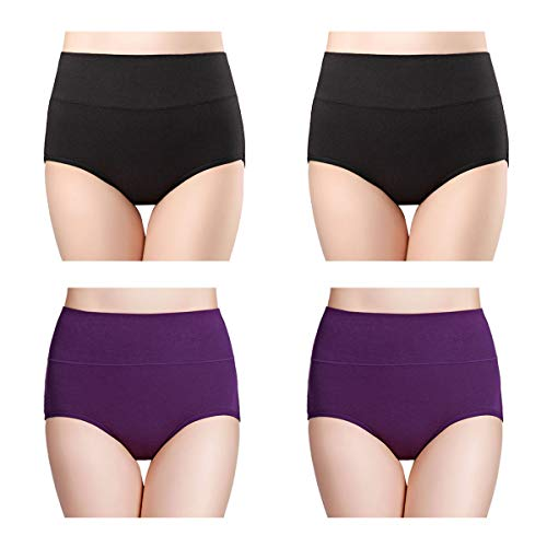 wirarpa Womens Cotton Underwear High Waist Full Coverage Brief Panty Black Purple 4 Pack, X-Small