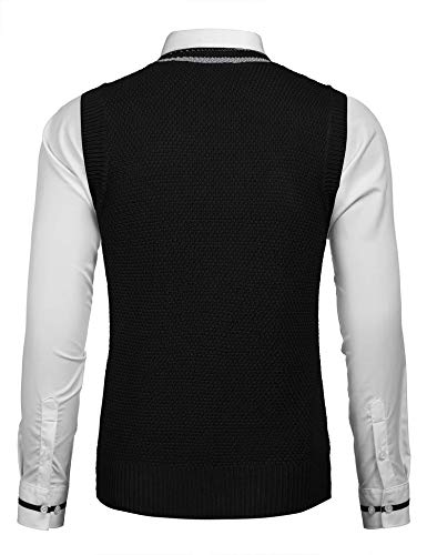 COOFANDY Men's Casual Knit Cotton Pullover Sleeveless Sweater Waistcoat Vest,Black,Medium by COOFANDY (Image #2)