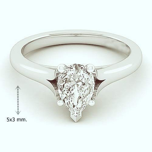 GIA Certified 0.30 Carat Pear Natural Diamond 14K White Gold Engagment Ring