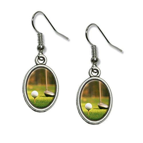 Golf Ball Club Dangling Earrings