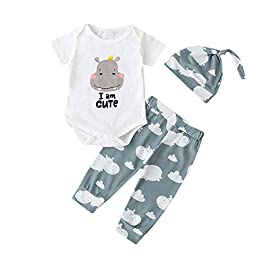 Hopscotch Baby Boys Cotton Half Sleeves Text Printed Onesies and Pant Overall Set with Cap in White Color