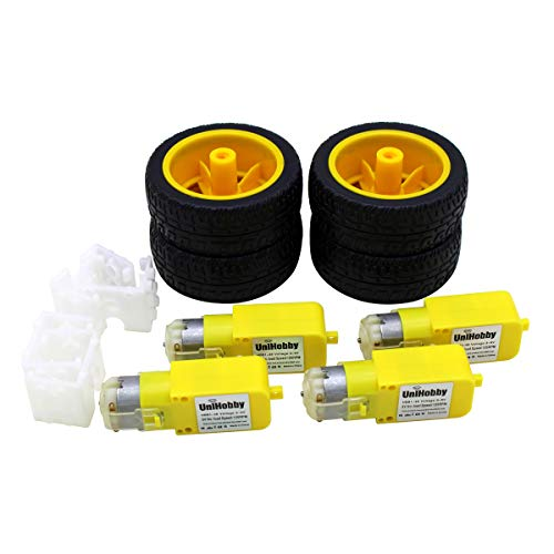 4 x TT Motor UniHobby 3-6V Uniaxial DC Gear Motor with Robot Wheels, Motor Support/Bracket for Arduino Robot Smart Car Compatible with Lego