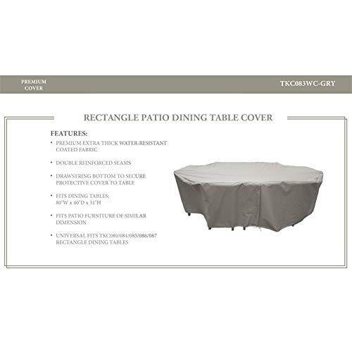 TKC Rectangle Dining Table Set Protective Cover in Gray ()