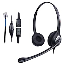 Wantek Corded Telephone RJ Headset Binaural with Noise Canceling Mic + Quick Disconnect for Call Center Telephone Systems with Plantronics M10 M12 M22 Amplifiers or Cisco 7942 Office IP Phones(602QC1)