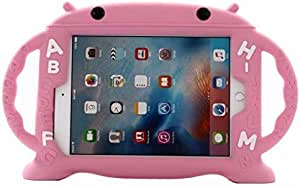 For iPad Air 2 / iPad Pro 9.7 inch/iPad 9.7 inch/iPad Air/Case Kids Safe Shockproof Silicone Rubber Cover Cartoon Robot Stand Case with Handles - Pink