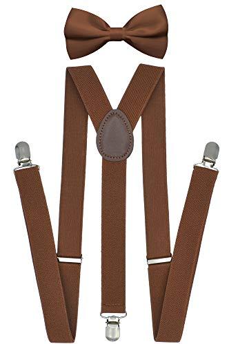 - Trilece Suspenders and Bowtie Set for Men Women Adults - Adjustable Elastic Y Back Style Suspender Bow Tie