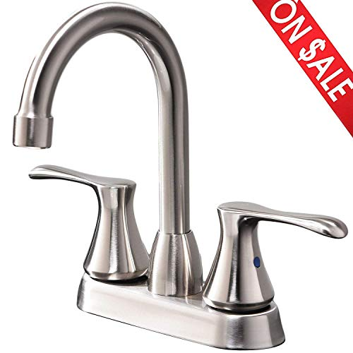 Double 4 Basin (Comllen Modern Stainless Steel Double Handle Basin Vanity Bathroom Faucet, Brushed Nickel Bathroom Faucet Without Pop Up Drain and Hot & Cold Water Hose)
