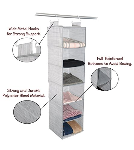 Adorn Home Essentials| Hanging Fabric Closet Shelf Accessory Organizer| Ideal for clothing, accessories, Shoes, Towels and Home Essentials| 6-Tier, Insta-Shelf Organizer