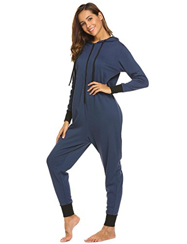 Ekouaer Family Pajamas Hooded One Piece Coupe Pajamas Onesie Jumpsuit Adult for Men Non Footed Women Pajamas Sleepwear S-XXL (Pajamas Flannel Footed)