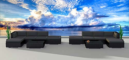 Series Sectional Sofa - Urban Furnishing.net - Black Series 12a Modern Outdoor Backyard Wicker Rattan Patio Furniture Sofa Sectional Couch Set