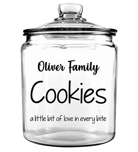 Family Cookie Jar - Personalized Cookie Jar - Custom Cookie Jar - Christmas Cookie Jar - Treat Jar - Gift for Mothers Day - Glass Cookie Jar - Cookie Jar with Lid