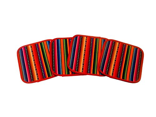 #1312 Six Manta Hand Woven Multicolored Cotton Coasters Pack Lot Peru Wholesale from Unknown