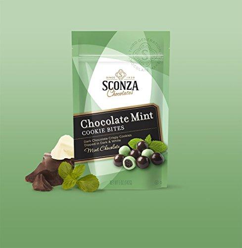 Sconza Chocolates Specialty Premium Medley Chocolate 5oz (Chocolate Mint Cookie Bites, 1 Pack)