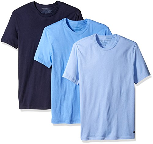 Tommy Hilfiger Men's Undershirts 3 Pack Cotton Classics Crew Neck T-Shirt, Navy/Blue/Soft Blue, Large (Classic Cotton Crewneck T-shirt)