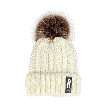 Cinhent Hat Womens Winter Hair Ball Curling Solid Plus Velvet Thick Knit Caps