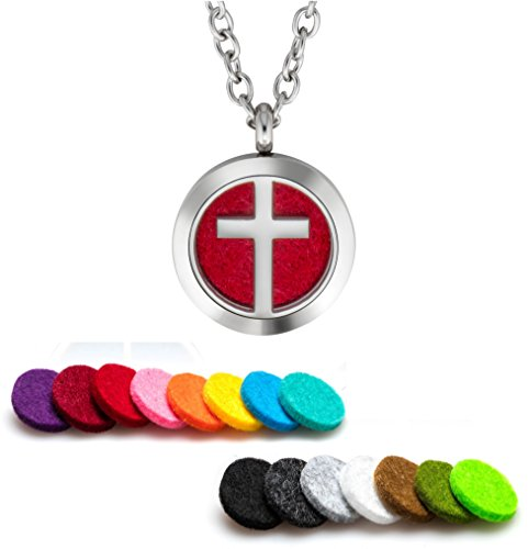 Oil Diffuser Necklace Aromatherapy 25mm Stainless Steel Locket Pendant with 24 Inch Adjustable Chain, 15 Washable Refill Felt Pads. (Cross) ()
