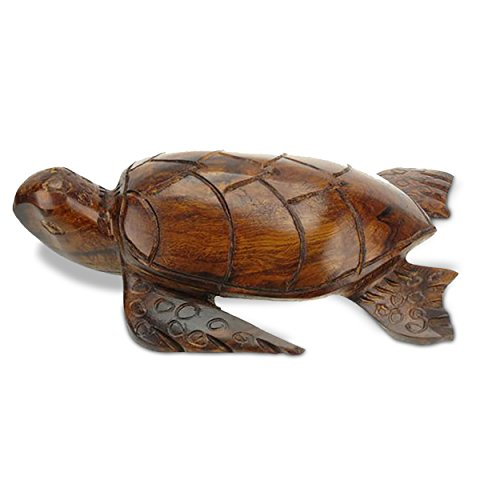 Sunland Artisans 5in Long Detailed Sea Turtle Ironwood Carving - Seashore Decor