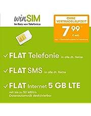 winSIM Umowa na telefon komórkowy LTE All 5 GB – bez umowy (FLAT Internet 5 GB LTE maks. 50 Mbit/s z dezaktywowanym automatycznym systemem danych, telefon FLAT, SMS i zagranica UE 7,99 euro/miesiąc)