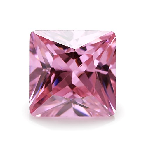 50PCS AAAAA Pink Square Shape Princess Cut Europe Machine Cut Loose CZ Cubic Zirconia Gemstone JIANGYUANGEMS (2x2mm 50pcs)