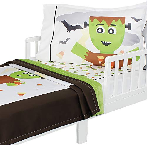 3pc RoomCraft Frankenstein Friends Toddler Bedding Set Halloween Blanket Sheet and Pillowcase Set ()