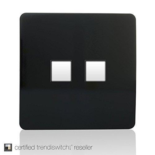 Trendi Switch Artistic Modern Glossy 2 Gang PC Ethernet Socket Black