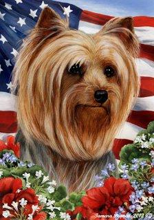 Yorkie Show Cut (1) Dog   Tamara Burnett Patriotic I Garden Dog Breed Flag